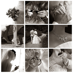 Wedding photos are a great option for collages because the images will match perfectly
